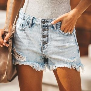 4 Button Denim Shorts